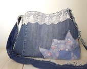 Vintage hippie chic boho bag with antique tatted lace trim