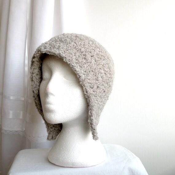 gray winter fairy cloche hat with earflaps, wool boucle, crochet - LAST ONE