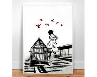 "LOVE IS FREEDOM 12"" X 17""  Black and White, Wall Art, Home Decor, for her, for kids, Fashion Illustration Modern Art , typographic poster"