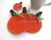 Pumpkin Crochet Coasters and  Miniature Gift . Orange Autumn Drink Tangerine Beverage Calabash Decor Crochet Cute Collection Set of 3