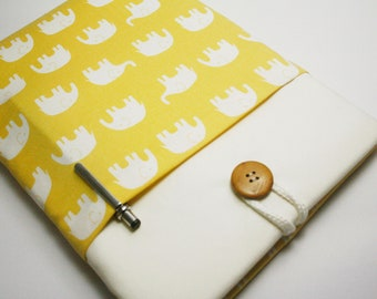 ipad case sleeve for ipad 4 ,ipad 3 ,ipad 2  -PADDED-FRONT POCKET- yellow elephant
