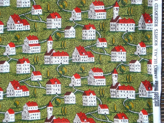 Village Green neighborhood houses Michael Miller fabric FQ or more