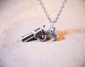 "Pistol Necklace Gun Necklace Antiqued Silver Pistol Necklace Six Shooter Necklace Western Jewelry TEXAS Jewelry 18"" Wholesale Jewelry"