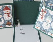Christmas Gift Tags: Five Pack Set / Flip Open & Handmade - Flaky Friends