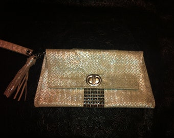Silver Leather Clutch, iridescent metallic silver, hot pink lining with latch