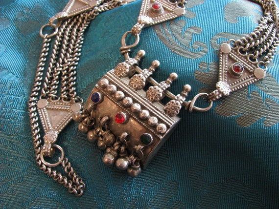 RESERVED 7-7-2013 for J:  Rajasthani Silver Taviz Amulet Box Pendant, Necklace, Rajasthan, India, 160 Grams - RARE