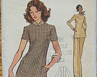 Vintage 70's Misses' Dress, Tunic Top and Pants, Vogue 8616 Sewing Pattern Size 14