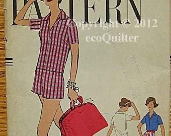 Vintage 50's Misses' Shirt and Shorts Vogue 9480 Sewing Pattern Size 18, UNCUT