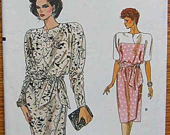 RARE Vintage 80's Misses' Very Easy Mock Wrap Dress, Vogue 9462 Sewing Pattern UNCUT Sizes 6-8-10