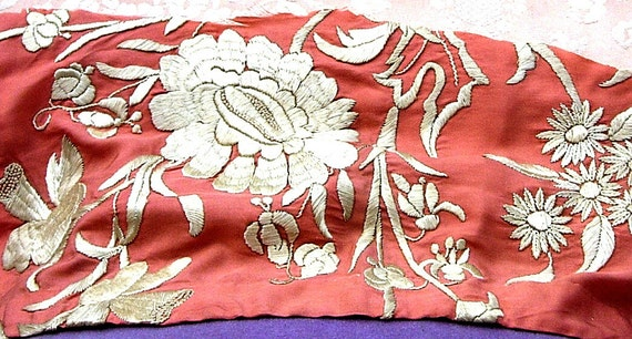 Antique Peach Silk Hand Embroidered Edwardian Dress Fabric Remnant