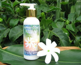 TAHITIAN TIARE Body Butter (Thick Lotion) with Organic Monoi de Tahiti and Mango Butter. 4 fl oz. Made in Hawaii.