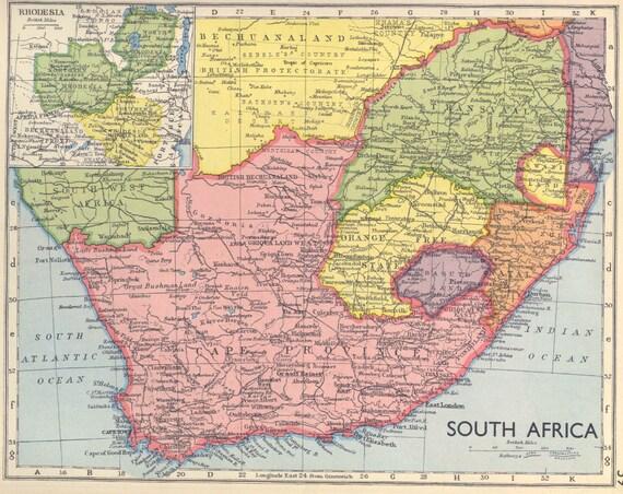 Vintage South Africa Map Cape Province Original Vintage Atlas