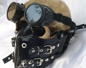 2 pc. set of Black Patent Buckle Strap Steampunk Dust Riding MASK with Matching GOGGLES - A Burning Man Must Have