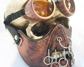 2 pc. set Copper Rust Distressed-Look Hannibal Lecter Steampunk Dust Riding MASK with O-Rings and Matching GOGGLES - A Burning Man Must Have