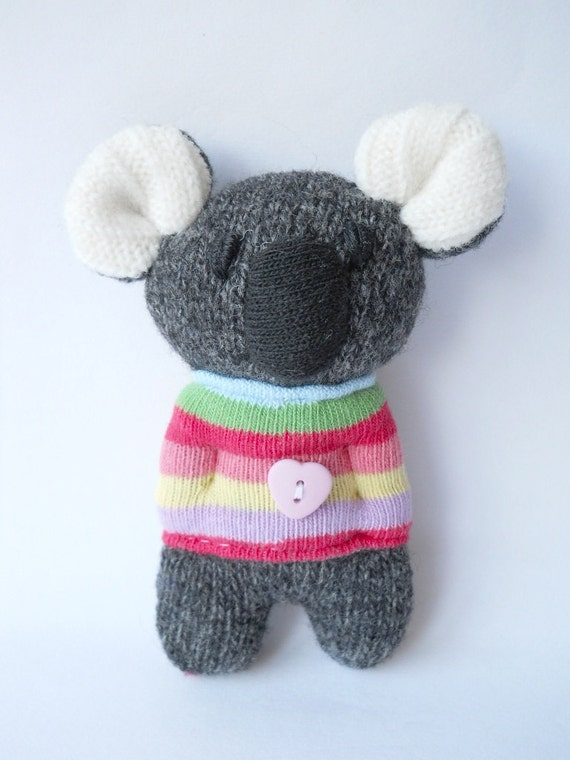 RESERVED LISTING for Vicci Nutter,  koala plush creature miniature upcycled sweater recycled  wool animal doll called Kookie