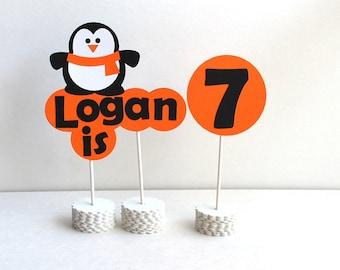 Penguin party Centerpiece - Personalized Birthday Centerpiece, Personalized Sign A290