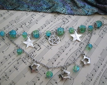 Bright Stars Pentacle Charm Bracelet, wiccan jewelry pagan jewelry wicca jewelry witch metaphysical witchcraft pentagram magic handfasting