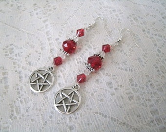 Red Pentacle Earrings, wiccan jewelry pagan jewelry wicca jewelry goddess witch witchcraft pentagram metaphysical gothic wiccan earrings