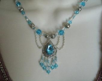 Blue Teardrop Necklace, victorian jewelry art nouveau jewelry art deco jewelry renaissance medieval edwardian neo victorian gothic