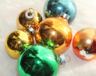 Vintage Gold Glass Christmas Ornaments Assorted set of 6