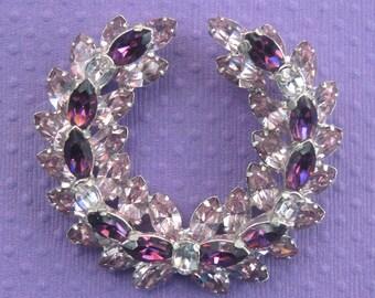 Vintage Regency Signed Purple And Lavender Rhinestone Brooch.