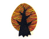 Red Fall Tree Brooch Pin Badge yellow autumn shrinky plastic