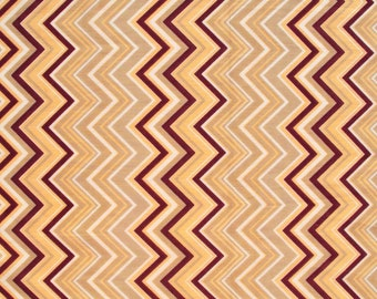 Cotton Fabric Print - magenta peach and white chevron print on a beige background - 1 yard - ctnp151