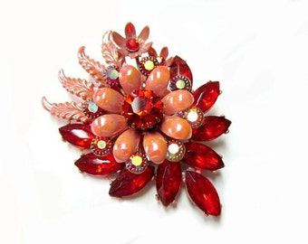 Orange Rhinestone Brooch Enameled Vintage Pin Large 2 1/2""