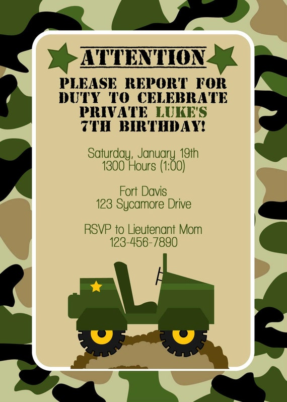 items similar to army birthday invitation on etsy, Birthday invitations