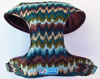 Comfort Soft Dog Harness, Zig Zag, Metalic. - Made to Order -
