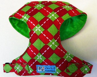 Christmas Argyle Comfort Soft Dog Harness. - Made to order -
