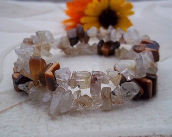 Tiger Eye and Rutilated Quartz Memory Wire Bracelet, Health Energy, Healing Stones Jewelry, Gemstone Synergy