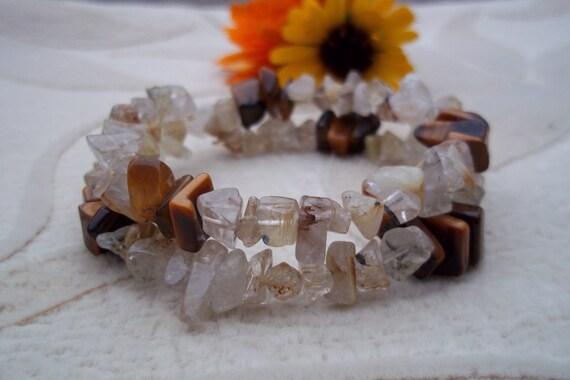 Tiger Eye and Rutilated Quartz Memory Wire Bracelet, Health Energy, Healing Stones Jewelry, Gemstone Synergy