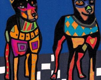 60% Off- Miniature Pinscher Art - Min Pin art dog Poster Print of painting by Heather Galler (HG679)