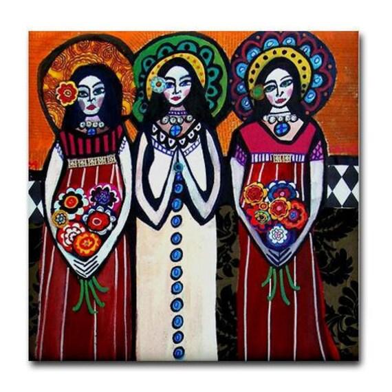 Mexican Folk Art Ceramic Tile