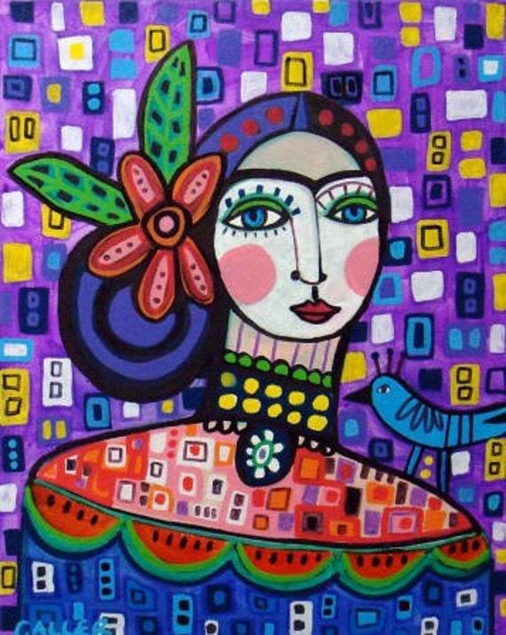 60% Off- Mexican Folk Art - Folk Art Frida Kahlo Print - Mexican Folk Art Painting  Art Print Poster by Heather Galler (HG633)