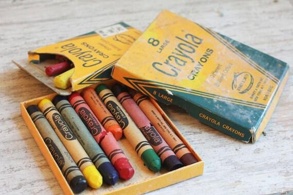 Vintage Crayola Crayons Box Large Crayons and Small Crayons back to school