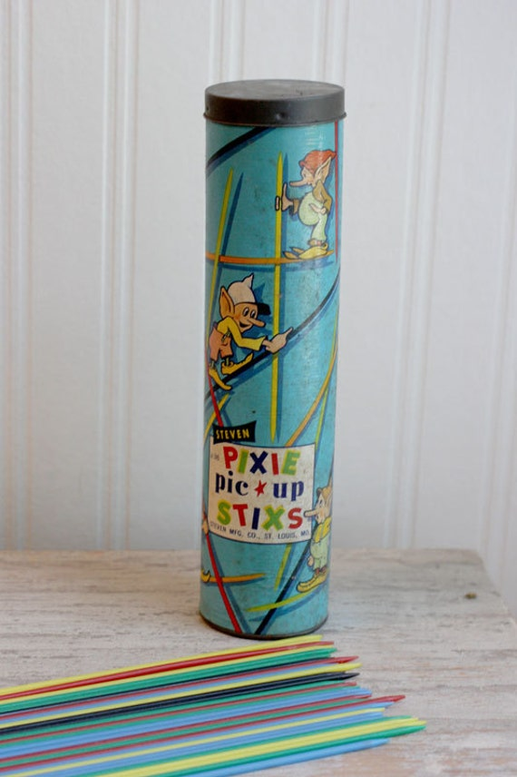 1950s Pick Up Sticks game Steven Pixie Pic Up Stixs original container ready to play Great Gift Stocking Stuffer