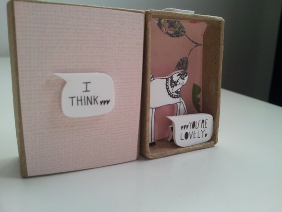I Think You're Lovely Shy Unicorn Diorama Message box