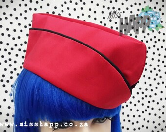 Red with Black trim WW2 Fly Girl cap