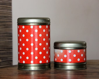 Vintage polka dot round tin canisters, set of two, made in USSR