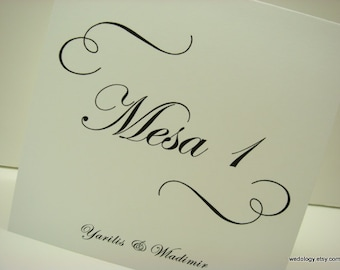 Spanish Wedding Table Numbers Wording Mesa Tent Design with Elegant Swirls and Script Font