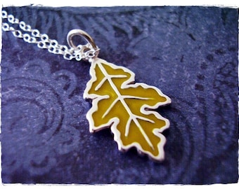 Yellow Oak Leaf Necklace - Yellow Enameled Sterling Silver Oak Leaf Charm on a Delicate Sterling Silver Cable Chain or Charm Only