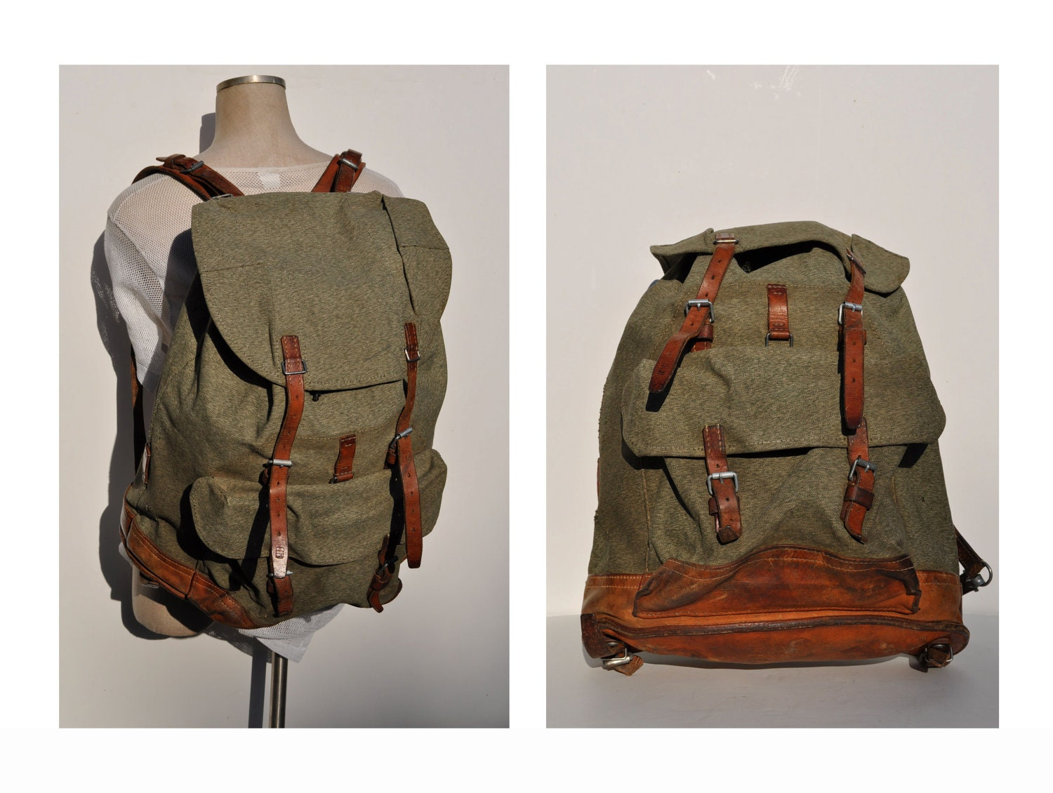 vintage backpack leather and canvas huge back pack ruck sack. Black Bedroom Furniture Sets. Home Design Ideas