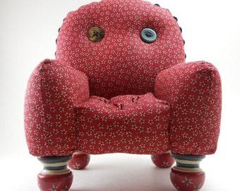 Red Print Pincushion Chair
