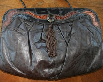 Vintage Marlenes Gaines Purse • Brown Leather Purse