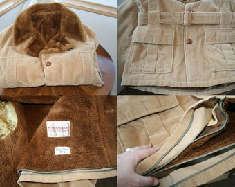 Vintage Mens 1970's Van Heusen Corduroy Car Coat Jacket