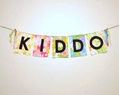 CUSTOM Name Word Phrase Garland Banner Bunting Sign in Vintage Fabric with Black Letters