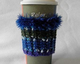 Crochet Coffee Cup Cozy Sleeve Royal Blue Sage Green Yellow and Purple with Eyelash yarn Trim