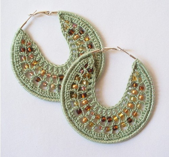 Crocheted Beaded Hoop Earrings